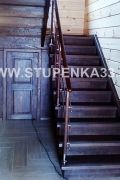 Лестница из массива ясеня с комбинированным ограждением
