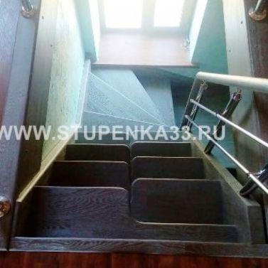 """Лестница из ясеня """"гусиный шаг"""""""