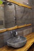 Столешница и рамка для зеркала из дуба для ванной комнаты
